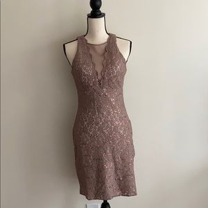 Beige/rose gold Lace sleeveless bodycon dress